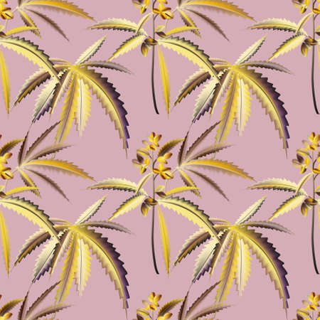 Marihuana plant bloom background, seamless pattern. Jungle leaves vector art.