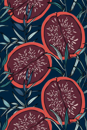 Floral pattern, leaves and Red pomegranate fig background. Botanical Seamless pattern, fashion texture, african motifs. Beach exotic summer collection, trendy jungle design. Vacation Rainforest art.