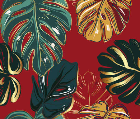 Monstera leaves greenery gold luxury seamless background. Red wallpaper plant, nature design, jungle forest hawaiian print: green, gold wallpaper. Modern interior concept in vector