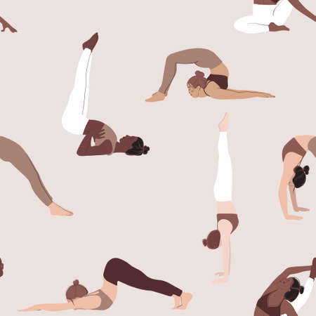 Yoga pose seamless pattern, diversity women sport class. Poeple  flat  characters, Indoor group. Black woman activity  illustration. Young fitness tema meditating, pilates activity