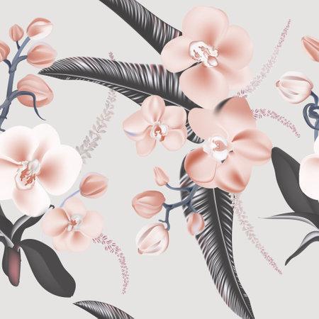 Grey orchids seamless design. Beauty tender flower print in grey pink colors. Wild garden floral design. Vector .