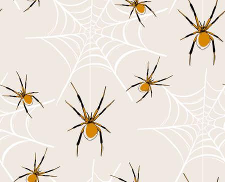 Spider web seamless pattern, vector baby Haloween illustration, kids repeat drawing print. Spooky scandinavian  art, childish design,  cute spider wallpaper, animal fabric  background.