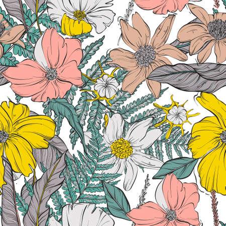 Garden flower bloom seamless pattern. Contrast various watercolor flowers, fern, leaves, petals bloom. Spring summer vector decoration, background, wallpaper. Wild herbs design.