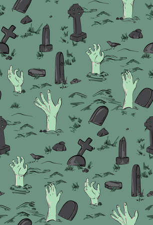 Haloween party horror seamless pattern. Spooky Dead monster hand out of grave on cementary, zombie silhouette illustration.  Scary trick or treat background. Night fear art green colors