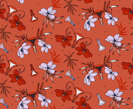 Vulva paradise plants, funny vagina pattern in red violet colors. Seamless repeat pattern design. Stock Illustratie