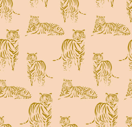Tigers outline pattern, hand-drawn doodle animal print. repetiotion texture. Vector.