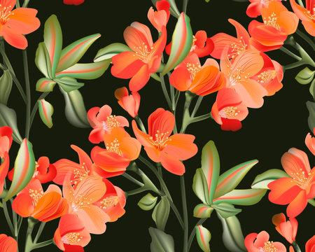 Tropical watercolor summer print. Hawaii foliage decoration. Flower seamless pattern, Orange floral bloom garden bouquet. vector tiny alstroemeria branch background.  Flower arrangement design