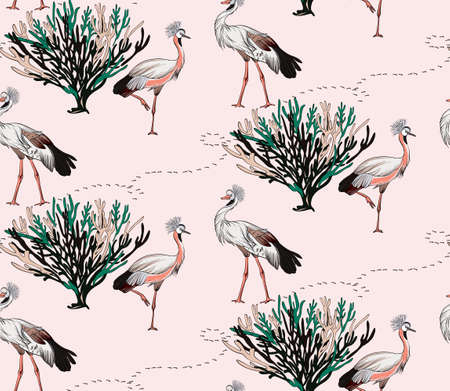 Large bird patter savannah design. Grey crowded crane birds exotic seamless pattern, pink background. Floral ditsy decoration, intage bird drawing abstract fabric nursery print. Vector.