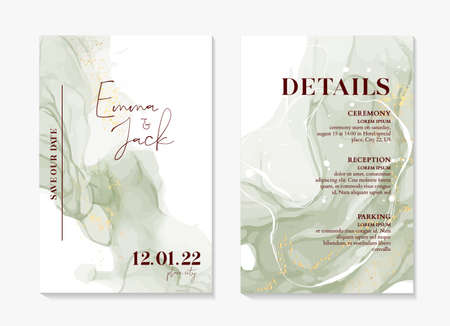 Wedding Invitation sage green boho rustic style modern save the date template. Watercolor liquid flow, abstract painting vector. Elegant  mint background  invite thank you, modern  rsvp card Design Illustration