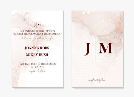 Wedding invitation card set, beige texture save the date card. Ivory posh elegant party invitation silver foil template, vintage holiday greeting birthday marble acrylic  painting pouring art  vector