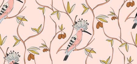 Bird seamless  pattern,nursery print.  Trendy pink floral background vector hoopoe small birds on tree with berries pattern. Kids room decoration, cloth texture, modern textile art.
