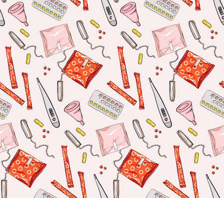 Woman period tools: sanitary napkins, period pads, tampons, vaginal cups, birth control protection, pms menstruational signs. Hand Drawn background, female illustration .