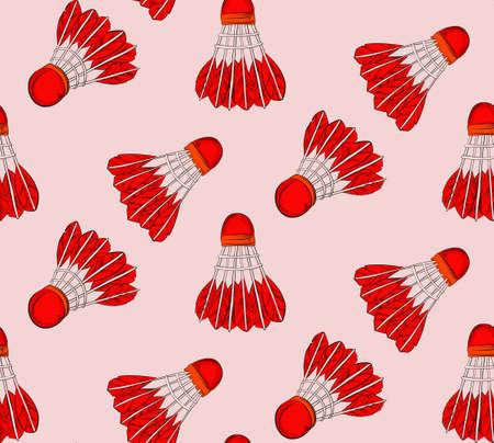 Shuttlecock red seamless sport pattern 免版税图像