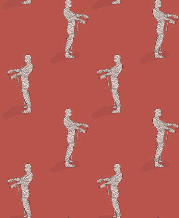 Mummy walking seamless background pattern. Zombie creepy dead body, Halooween fall design.  Spooky art, repetition cartoon funny illustration  in vector Imagens