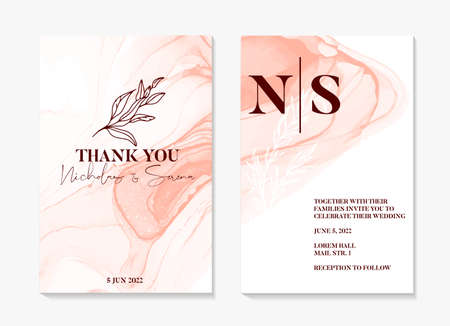 Watercolor wedding invitation. abstract painting shapes , pink rustic boho invitation template, floral frame. Elegant floral save the date card, rsvp invite in vector Stock Illustratie