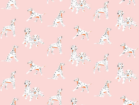 Dalmatian seamless pattern, spotted white black puppy cartoon nursery  print. Pink cute drawing. Cute kawaii background 矢量图像