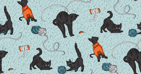 Cat funny print, craft stitching, embroidery print. Black Cat playing with yarn at home, catlover background.  Knitting sewing seamless pattern  in vector  blue orange