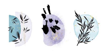 Boho rustc one line plant, oriental minimalist art, watercolor painting texture shapes blue violet alcohol acrylic ink circles, plant silhouette design . Modern minimal art in Vector Ilustração