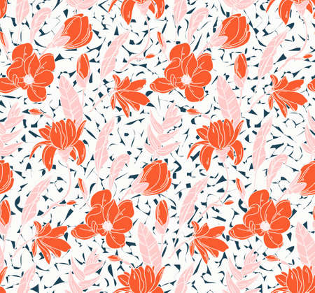 Seamless rose pattern with spring flowers and leaves pink orange. Hand drawn line art background. Floral pattern for wallpaper or fabric. Flower rose. Botanic Tile. Vector