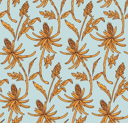 Retro Floral pattern blue yellow. Flower seamless light background. Botanical ornamental garden vintage design for fabrics. Vector mosaic Ilustração