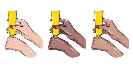 Hand applying cream Daily beauty routine, natural cosmetics advertising vector. Women hand latina, white, afro hand with body lotion