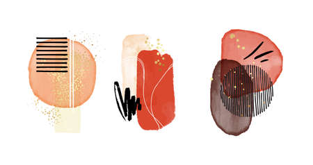 Aquarelle classic shapes. Red contrast vector Scandinavian decorative cover stain painting, watercolor blobs, circle frames, social media decoration. Scandinavian minimalistic shapes