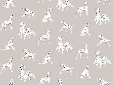 Dalmatian cartoon hand-drawn seamless pattern, spotted white black dogs seamless background. Puppy vector print