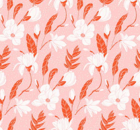 Floral mixed media seamless pattern. Botanical background Acuarelle painting. Nature design pink orange 2022 vintage flowers and leaves in vector, garden bouquet