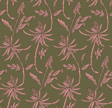 Flower repeat texture, Nature seamless print. Ornament floral background  khaki green dusty pink trendy line art for fabrics, wrapping paper, wallpaper. Vector Ilustração