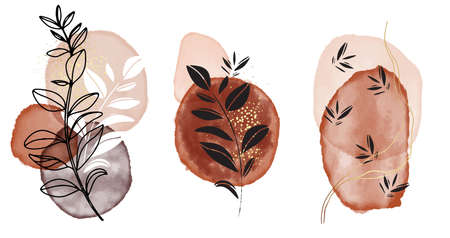 Watercolor painting shapes Beige aquarelle ink, pastel neutral pastel frames, black silhouette leaves minimalistic design. Nude gold blush geometric design vector Ilustração