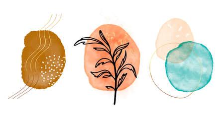 Original paiting Abstract Texture Arrangement, blush pink blue, orange  composition desig watercolor hand painted round shapes, circles, Modern print set. Wall art. Business card Vector