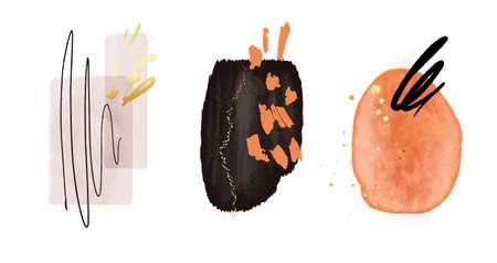 Original painting abstract texture, watercolor shapes, circle frames, orange black blobs, geometric arrangements Modern print set.