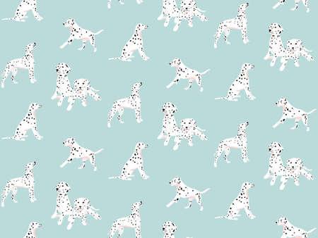 Dalmatian seamless pattern, spotted white black dogs blue seamless nursery print, kids background vector 矢量图像