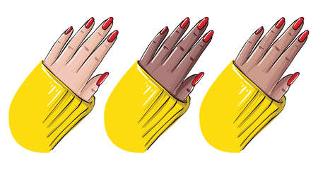 Hand nails new manicure, red polish cover art. Womn hand in different skintones showing new beauty procedure Vector