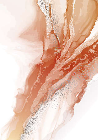 Watercoor painting Earth tones background. Abstract acrylic ink pouring art design for print, cover, wallpaper, Minimal and natural  interior print. Soft texture design.  Vcetor