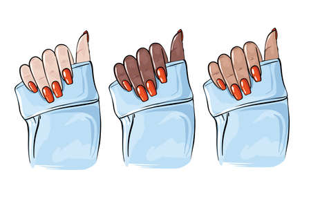 Nail hands beauty art, manicure Glamour shellac cosmetic illustration. Modern spa salon art, fingernail decoration, beauty logo. Cosmetology women glamour hand with colored gel, acrylic color