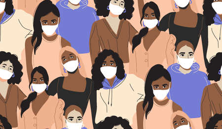 People in medical mask. Quarantine social distance, infected group people, girl face in white mask. Vector seamless pattern illustration. Flu outbreak news vaccine