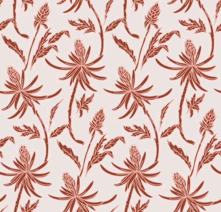 Floral pattern nude pink. Flower seamless light background. Flourish ornamental garden vintage design in vector
