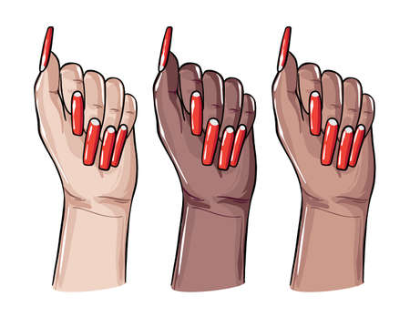 Diversity women hands with nail polish sign advertising