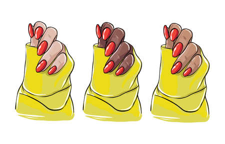 Black women hand illustration, beauty salon acrylic nail polish, colored red gel cosmetics template. Vector blog sigital stickers , female fashion template artist Vector