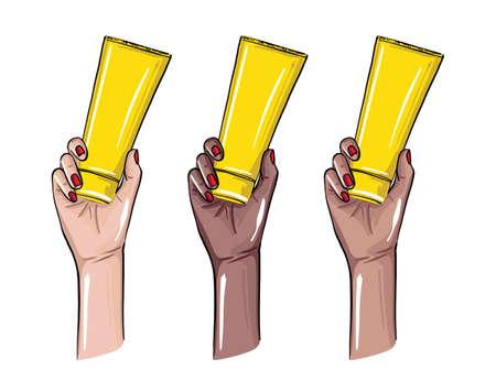 Hand holiding cream bottle illustration, Women arm with beauty treatment products. VEctor  international design. Ilustração