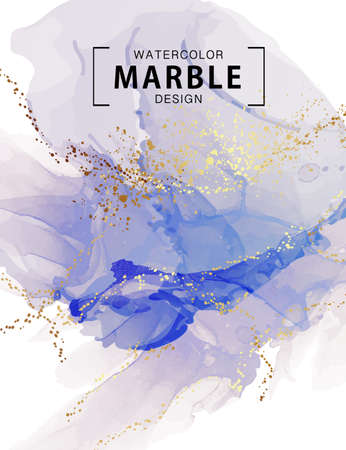Watercolor liquid flow painting, acrylic ink marble Classic blue watercolor sample. Poured art psychedelic minimalistic print. exotic brochure cover, poster, wall art in vector Vektorové ilustrace