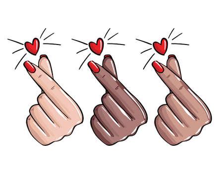 Nails love, manicure like sign. Korean love gesture, emoji  manicure master stickersFemale hand showing love, beauty salon  art. Vector