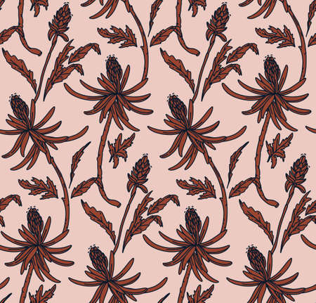 Floral botanical line art Seamless pattern.Retro nature wallpaper, background, fabric texture. Artdeco vector  in pastel colors