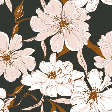 Floral garden bouquet. Oriental peony seamless background.  Leaves flowers bloom botanical drawing vintage palnt