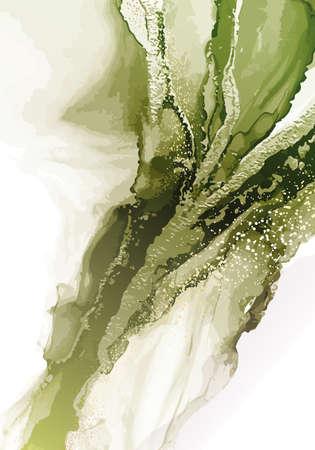 Watercolor pabstract painting gold coper foil texture. Emerald green creative background. Vintage marble decor for vouchers, presentation, poster, banner, website, social media. VEctor Ilustração