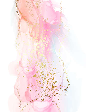Beautiful gradient pink oriental background. Ink soft Fluid art ainting, alcohol ink mix waves and swirls. Perfect for posters, cards, other printed materials. Orange blue gold design vector 矢量图像