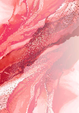 Liquid red marble design abstract painting background with gold splash texture. Absract texture in vector contrast pink