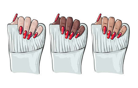 Nails manicure illustration , manicure woman black hand, cosmetology clipart,  Beauty salon fashion , shellac nail polish, acrylic nails gel vector.