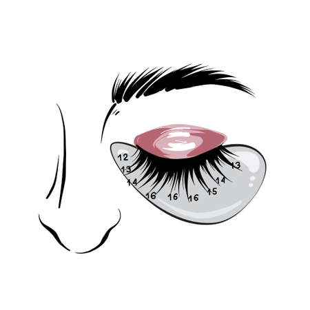 Eyelash mapping, eyebrows microblading Beauty salon treatment.  Professional beauty branding social media icons set. permanent makeup artsit  in vector